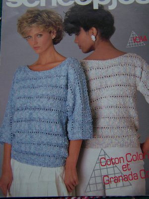 Vintage Scheepjes Knitting Pattern Striped Openwork Lady's 3/4 Sleeve Sweater 1014