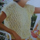 Vintage Summer Top Short Sleeve Open Back Lace Sweater Knitting Pattern c 7137