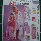 XS S Childrens Girls 3 4 5 6 Sewing Pattern Pajamas Robe Pj Tops Gown Sleep Shorts Pants 3906