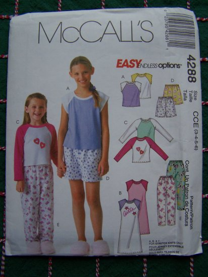 McCall's Easy Girls 3 4 5 6 Sewing Pattern Wardrobe Shirts Dress Shorts Pants 4288
