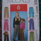 McCall's 4577 Sewing Pattern Girls 7 8 10 12 Elastic Waist 6 Pairs of Pants