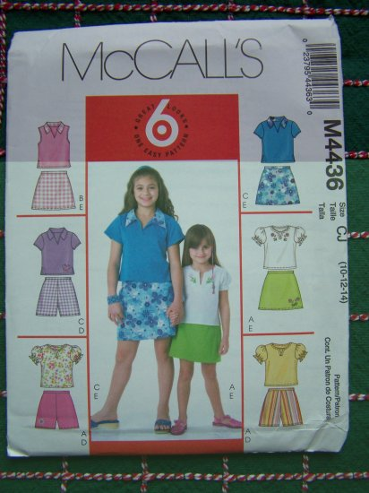 New Easy Girls Sewing Pattern 10 12 14 Summer Tops Shorts Skort McCall's 4436