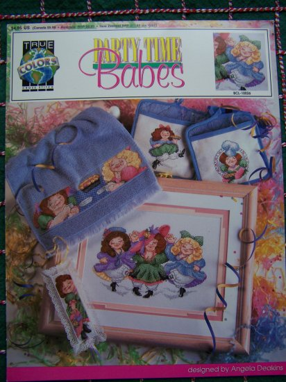 True Colors Cross Stitch Pattern Party Time Babes Leaflet Book Whimsical Dolls