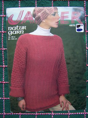 1970's Vintage KNitting Pattern 4573 Womens Sideways Knitted Sweater Bust 32 34 36 38 40