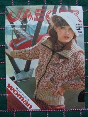70's Vintage Knitting Pattern Misses Zip Front Hi Flyer Jacket Jaeger 4587