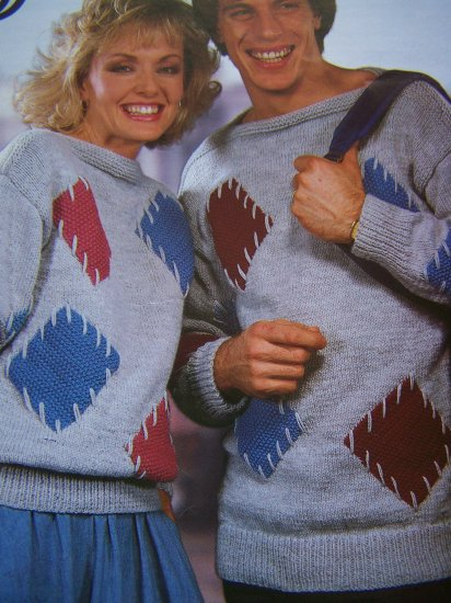 Vintage Sirdar Knitting Patterns Guys and Gals Aran Patchwork Pullover Sweaters 6630