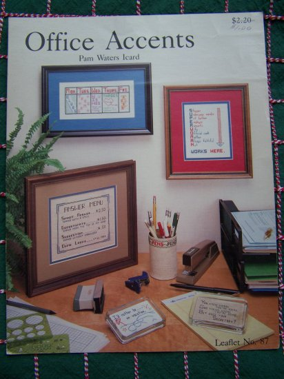 Vintage Country Crafts Leaflet 87 Office Accents Cross Stitch 6 Patterns