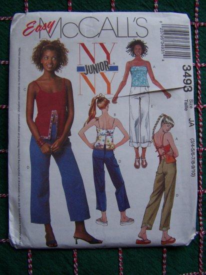 Jrs Sewing Pattern Summer Empire Waist Split Center Camisole Tops Capri Pants 3493