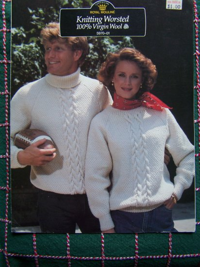 80's Vintage KNitting Patterns Mens or Womens Pullover Sweater Patterns Royal Mouline 5970-01