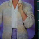 Vintage Lo Ran Ribbon & Yarn knitting Pattern Womens Open Knit Jacket S M L # 211