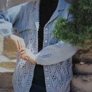 Ladies Vintage Knit Collared Cardigan Sweater Pattern Lace Lower & Sleeve Hem 15339