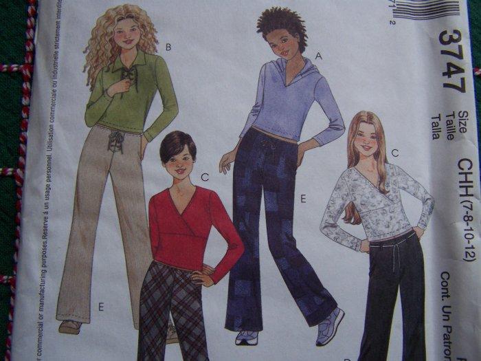 McCall's Sewing Pattern 3747 Girls 12 14 16 Uncut Long Sleeve Tops Pants