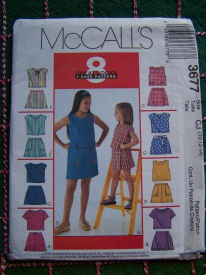 Girls Sewing Pattern 3677 Summer Wardrobe Tops Skorts 10 12 14 Uncut McCall's
