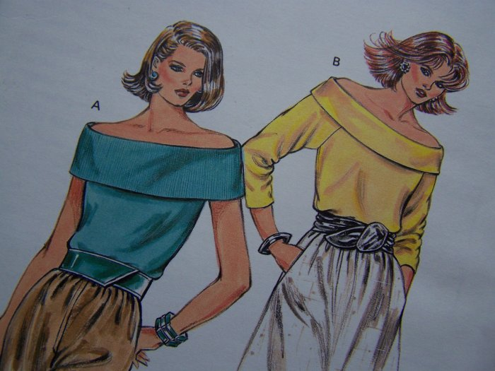 80's Vintage Sewing Pattern Misses Off Shoulder Tops Sleeveless or Long Sleeve Kwik Sew 1593