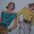 80's Vintage Sewing Pattern Misses Off Shoulder Tops Sleeveless or Long Sleeve Kwik Sew 1593