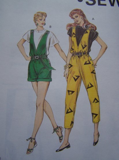 Retro Misses Jumpsuit Sewing Pattern Deep V Cropped Pants or Cuff Shorts 1388