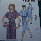 80's Vintage Kwik Sew Pattern 1306 Misses Dress Short or Long Push Up Sleeve V Back XS S M L