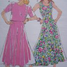 80's Vintage Misses Flared Sundress or 2 Piece Dress Skirt & Top 1875 Sz 6 8 10 12