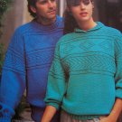 Vintage Knitting Patterns Mens & Womens Textured Yoke Pullover Sweaters 1045