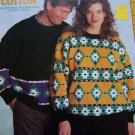 1990's Patons Cotton Worsted Yarn Knitting Patterns Mens Misses Patterned Pullover Sweaters 1098