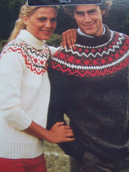 Retro 1980's Mens & Misses Knitting Patterns Bulky Decorative Yoke Pullover Sweaters