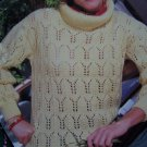 Vintage Lady's Knitting Pattern Lacy Pointelle Pullover Big Roll Collar Retro Patterns