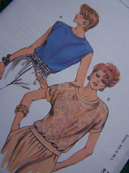 Ladies Retro Summer Tops Sewing Patterns Ribbing Bands 1624 Sz XS S M L