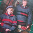 5 Reynolds Knitting Patterns Men Misses Knit Sweaters # 218