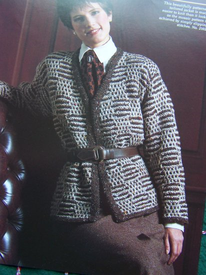 5 Misses Reynolds Yarn Knitting Patterns Cable Pullover & Vest Mosaic Jacket Houndstooth 210