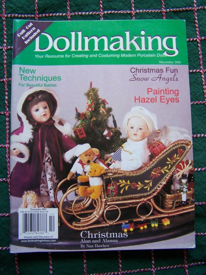Dollmaking Magazine December 2001 Doll Dress Sewing Pattern & How to make doll shoes