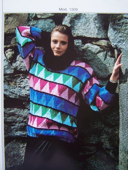 Vintage Filatura Di Crosa Knitting Pattern Ladies Pullover Patterned Sweater Mod 1309