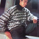 Men's Vintage Abstract Pullover  Sweater Knitting Pattern Mod 1306