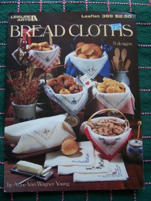 9 Vintage Bread Cloths Leisure Arts X Stitch Color Embroidery Chart Patterns # 389