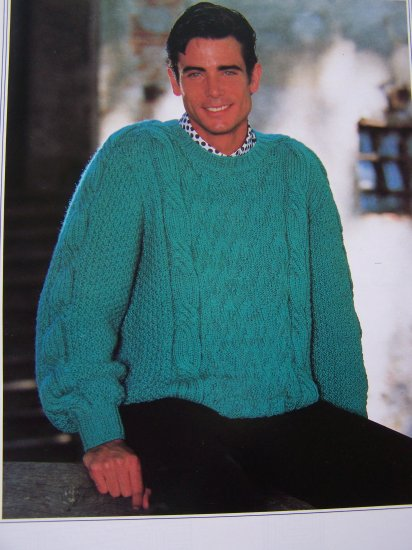 Men S Big Amp Tall Knitting Pattern Bulky Textured Pullover