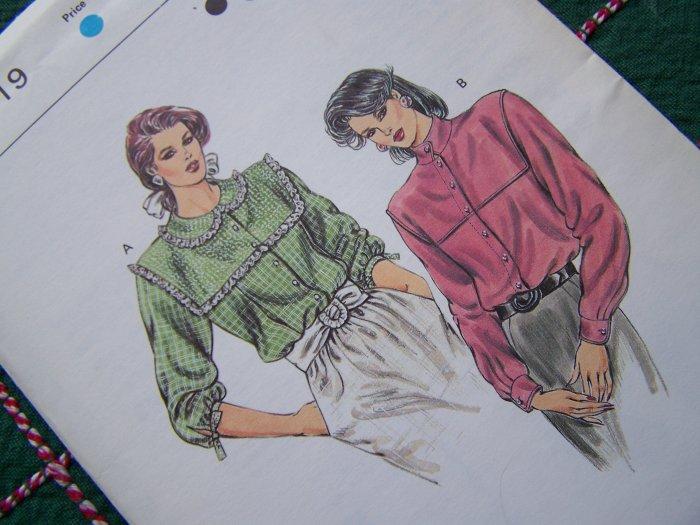 Vintage Misses Sewing Pattern 1619 Blouses Yoke Detail