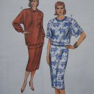 1980's Vintage Sewing Pattern Misses Loose Top Straight Slim Skirt 1622 Sz XS S M L