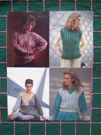 5 VIntage International Designers Womens Sweaters Fashion Knit Knitting Patterns