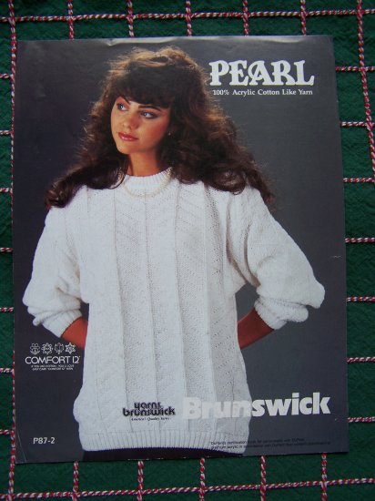 1980's Vintage Brunswick Pearl Misses Textured Pullover Sweater Knit Pattern