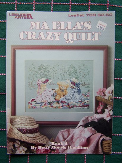 Vintage Ma Ellas Crazy Quilt Embroidery Pattern Tea Party 709