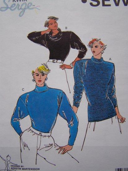Misses XS S M L XL Sewing Pattern Knit Tops Cowl Turtleneck & Mock Kwik Sew 1768