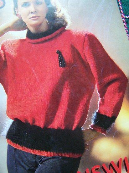 1980's Womens Elegant Sweaters Knitting Patterns Brunswick 860