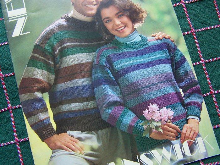 7 Vintage Knitting Patterns Brunswick Yarn Knit Sweaters for Men & Misses