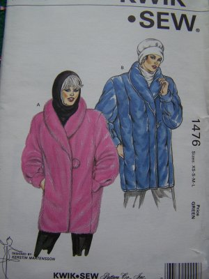 Womens Retro Sewing Pattern 1476 Fur Fabric or Quilted Coat Shawl Collar XS S M L