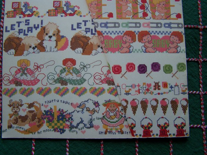 Vintage Baby Borders Cross Stitch Patterns Embroidery Book Nursery Layette