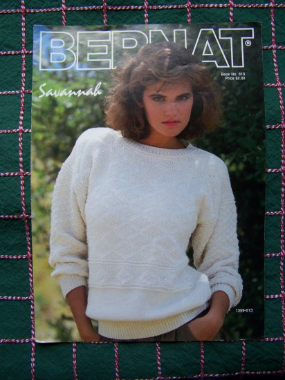 2 Bernat Vintage Knitting Patterns Long or Short Sleeve Lacy Textured Sweaters Book 613