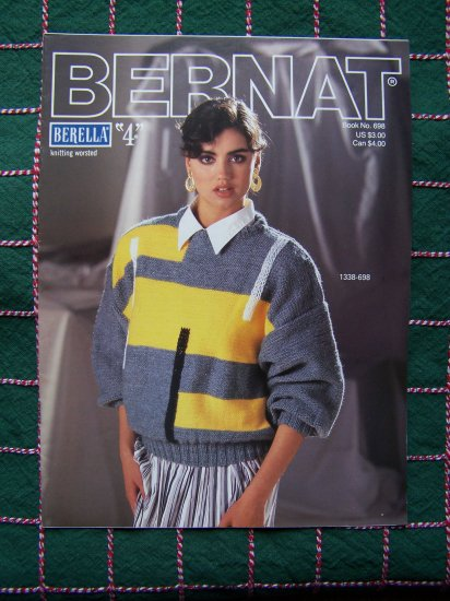 Vintage Bernat Book 698 3 Misses & 1 Mans Knitting Patterns Sweaters