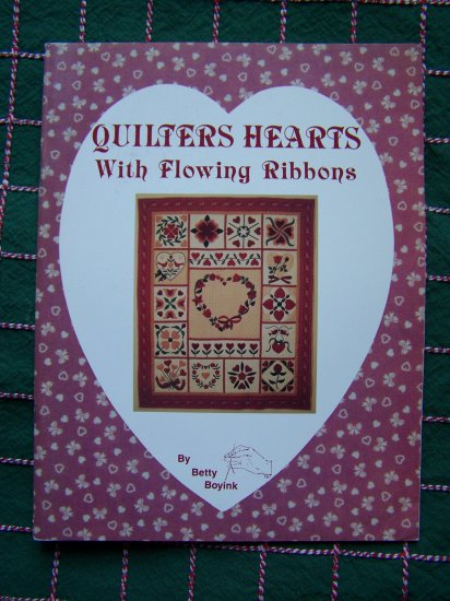 Vintage 1980's Quilters Hearts with Flowing Ribbons Patterns Book By Betty Boyink