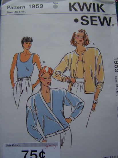 Misses Vintage Sewing Pattern Knit Fabric Cardigan & Tank Top Twin Set 1959