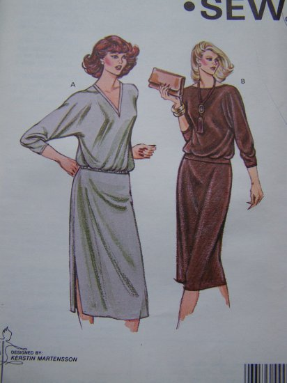 Retro Misses 70's Knit Dolman Top Elastic Waist Skirt 2 Pc Dress Sewing Pattern 981