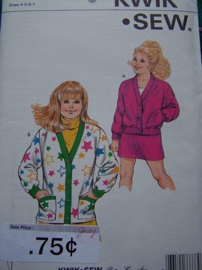 VIntage Girls 4 5 6 7 Sewing Pattern Kwik Sew 1596 Cardigan Jacket Straight Skirt 4 5 6 7
